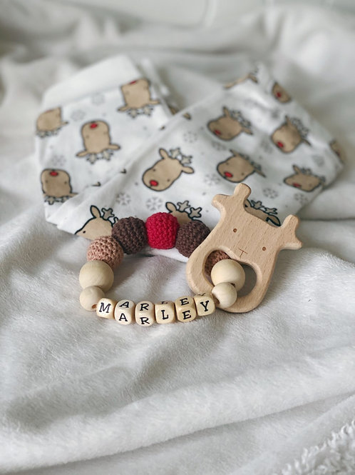 Natural Wooden Personalised Christmas Teething Rattle