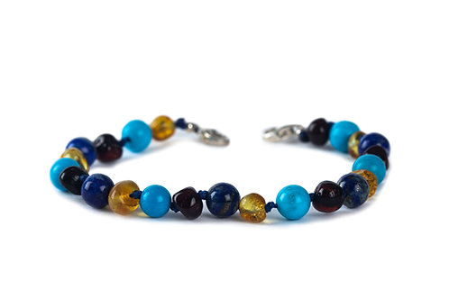 Children's Turquoise, Lapis, Cherry & Honey Adjustable Anklet