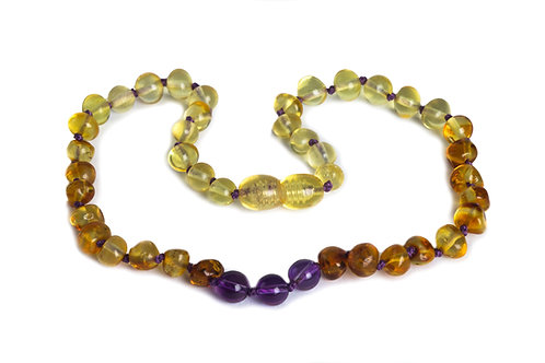 Baby J's Signature Lemon, Honey & Amethyst Baltic Amber Necklace