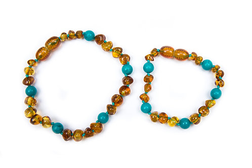 Cognac and Turquoise Mummy & Child set