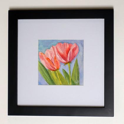 Pink Tulips Original Watercolor Mini_1