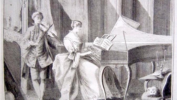 Table ronde 18h piano carré Erard 1806 : Sonate avec accompagnement et Sonate française