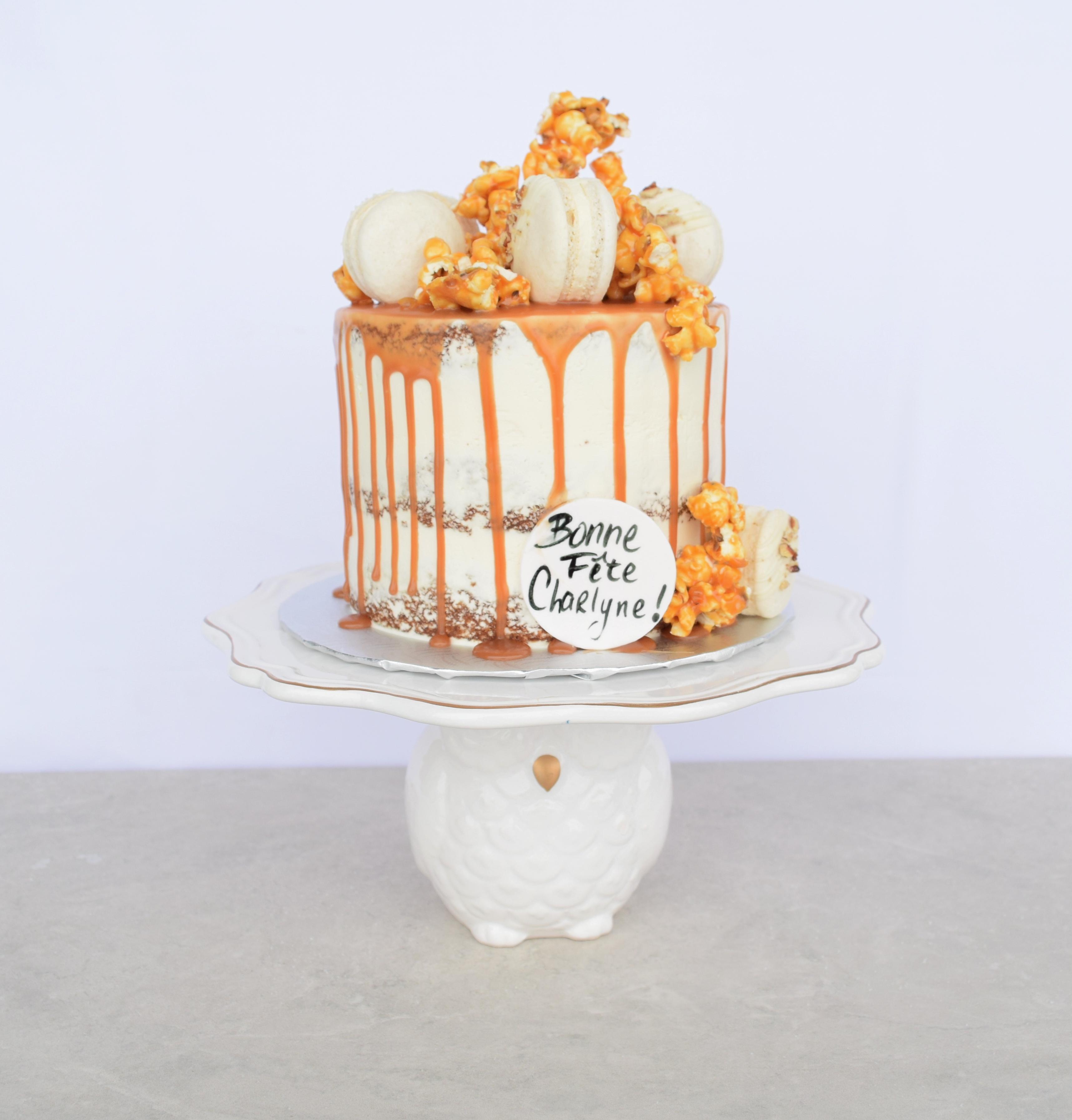 Naked caramel drip cake