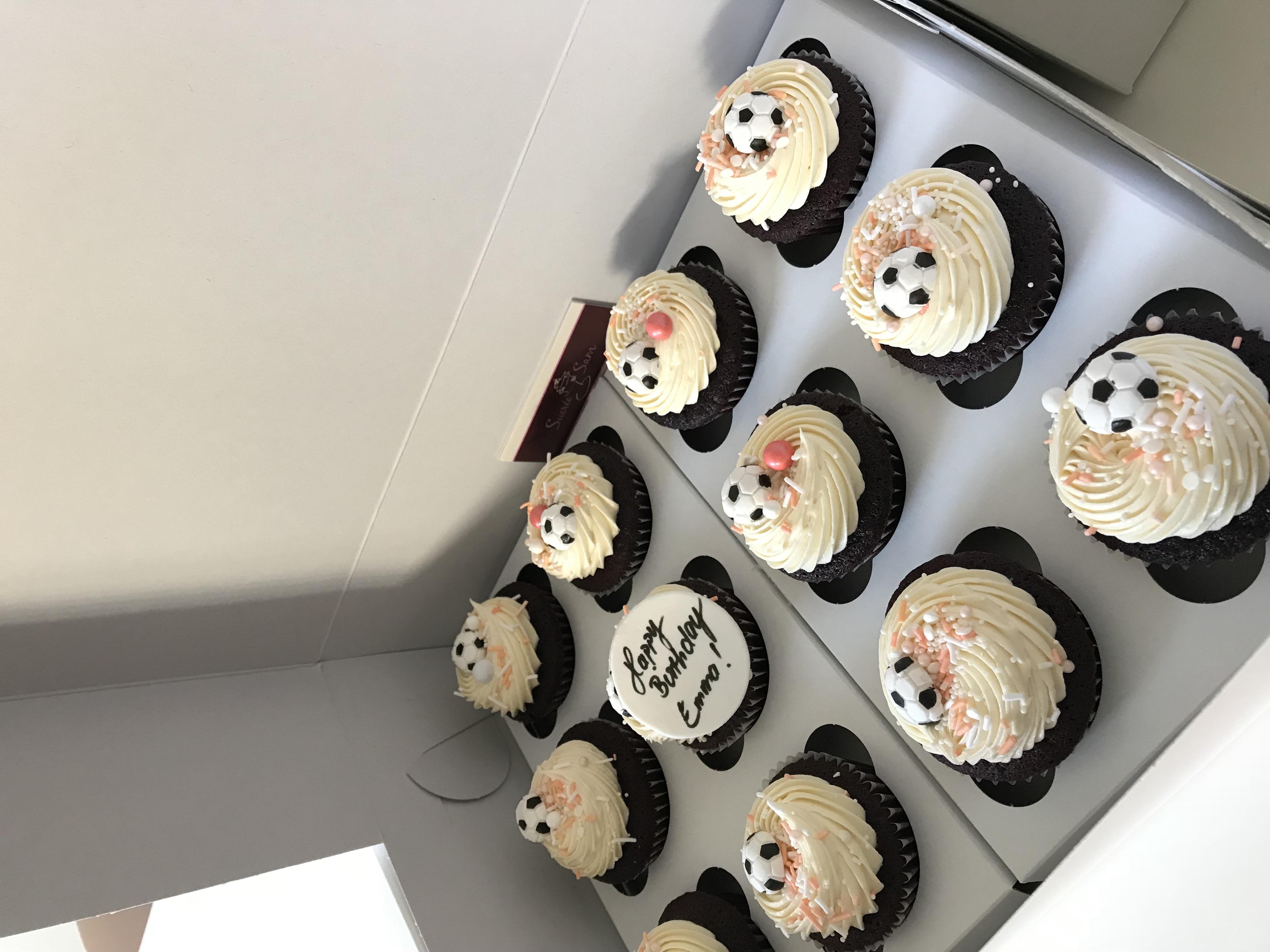 Girly soccer cupcakes