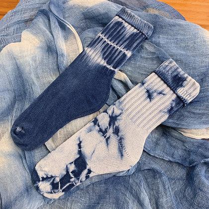 純棉扎染中筒襪(兩款圖案可選)