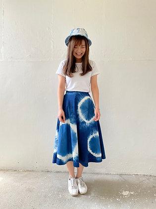 文青藍染圈圈裙