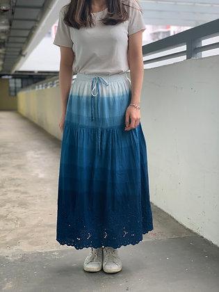 藍染漸變長裙