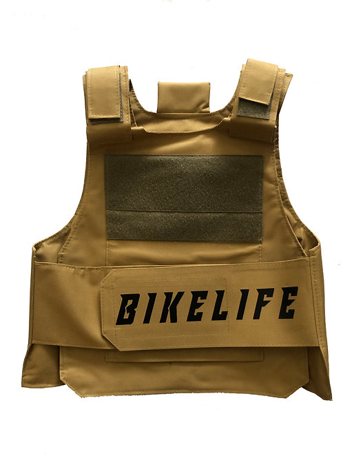 Khaki Bike Life Riding Vest With Black Letters