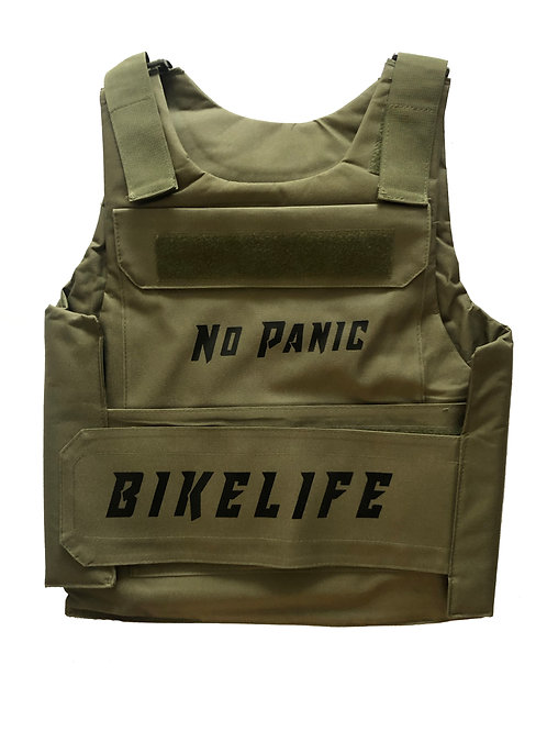 Army Green Bike Life Riding Vest with Black Letters