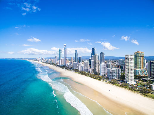 An aerial view of Surfers Paradise on th