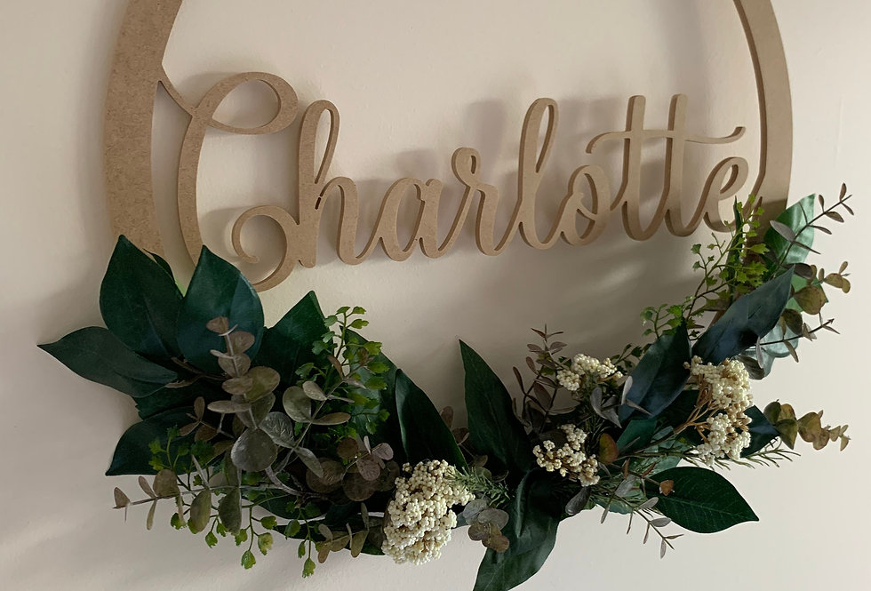 Personalised Name Hoop - Lush Foilage Design