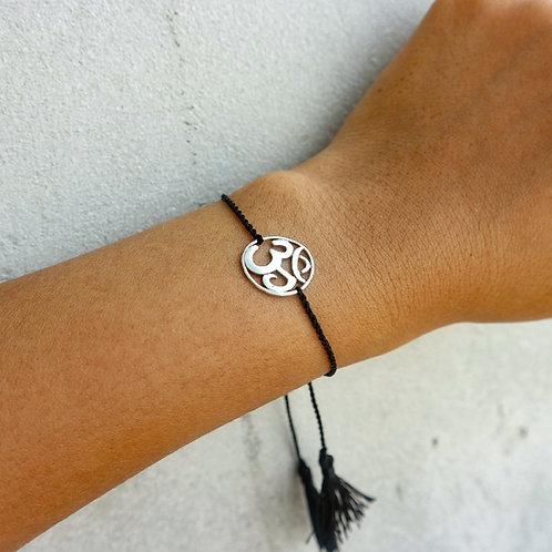 Black Sliding Knot Bracelet with Sterling Silver - Om Charm