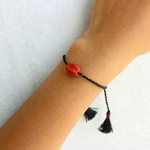 Black Sliding Knot Bracelet - Om Mani Padmi Hum