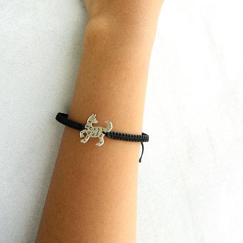 Black Sliding Knot Bracelet with Sterling Silver - Dog Charm