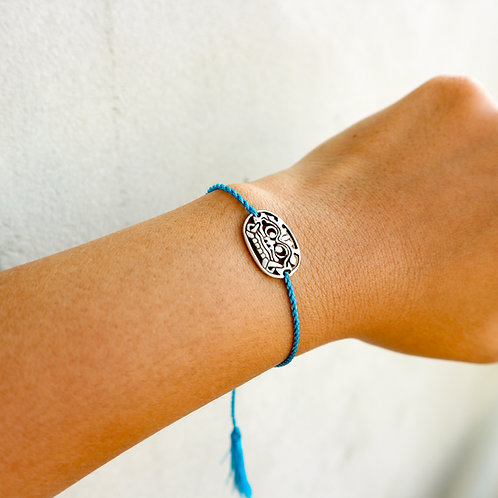 Blue Sliding Knot Bracelet with Sterling Silver - Barong Charm