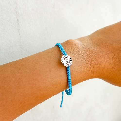 Blue Sliding Knot Bracelet with Sterling Silver - Throat Chakra Charm