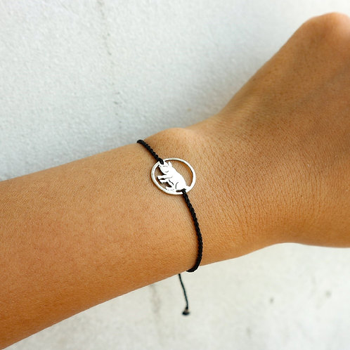 Black Sliding Knot Bracelet with Sterling Silver - Pig Charm
