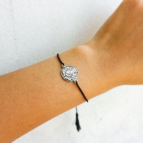 Black Sliding Knot Bracelet with Sterling Silver - Elephant Charm
