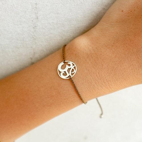 Brown Sliding Knot Bracelet with Sterling Silver - Om Charm