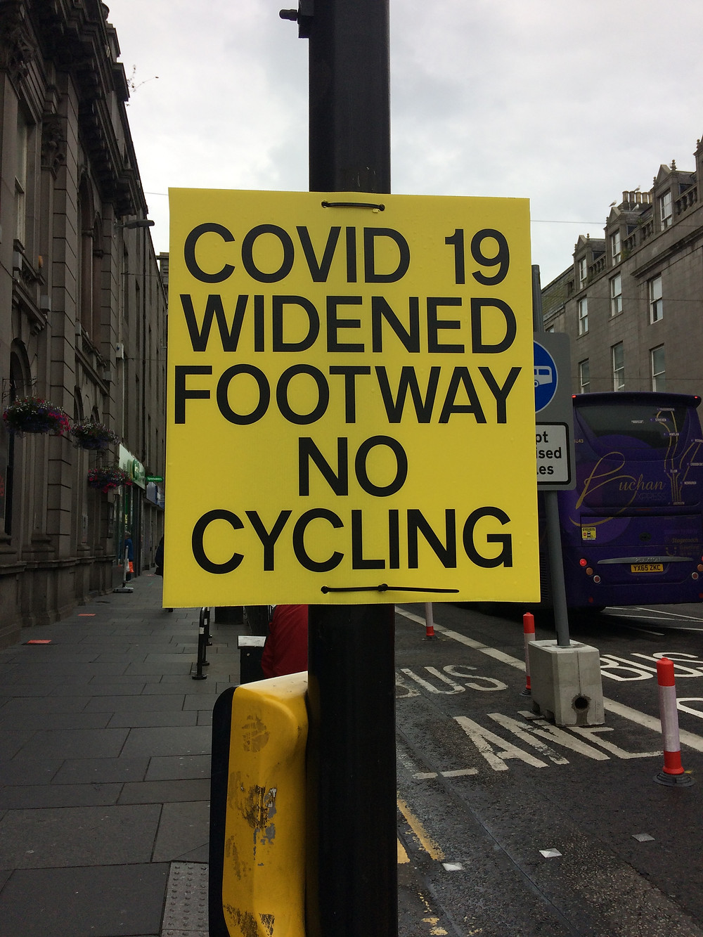 Note to Aberdeen cyclists - no cycling in pavement extensions !