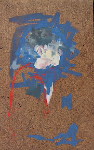 Portret van een niet herkbaar gezicht. Als verbeelding van het verminderende herkennings vermogen van mensen met dementie.  42x29 cm, Acryl en Krijt op spaanplaat.