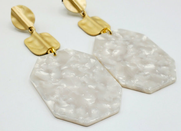 Pearlized Hexagon and Hammered Gold Resin Earrings