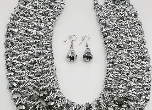 Silver Rhodium Beaded  Bib-Style Necklace Set