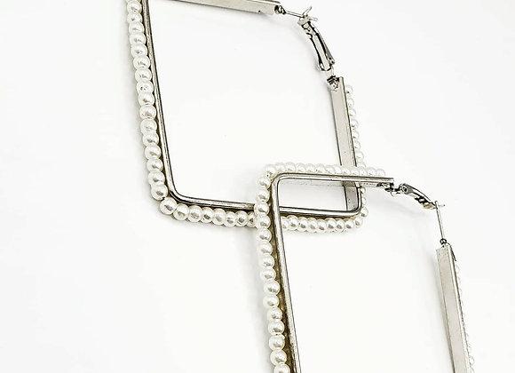 Geometric Silver Metal Pearl Lined Earrings