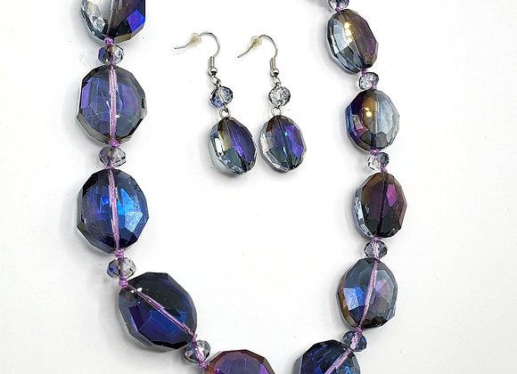 Smoky Purple Necklace & Earrings Set