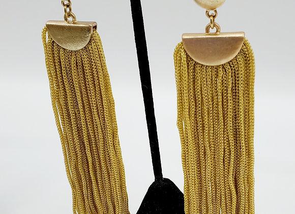 Mustard Yellow Tassel & Antique Gold Earrings