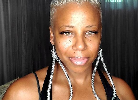 Leather Tear-Drop  Herringbone Earrings (Silver)