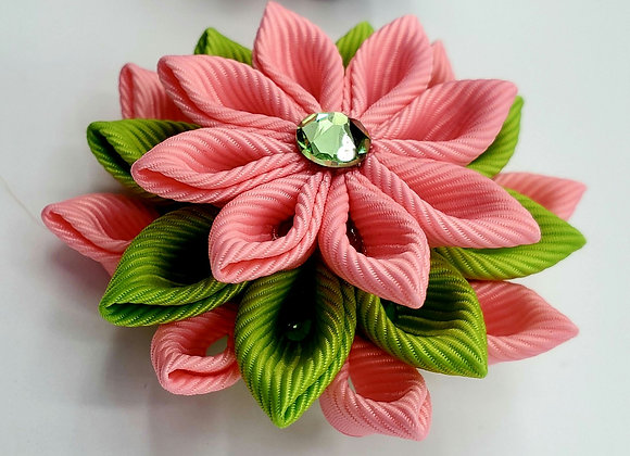 Pink & Green Kanzashi Blossom