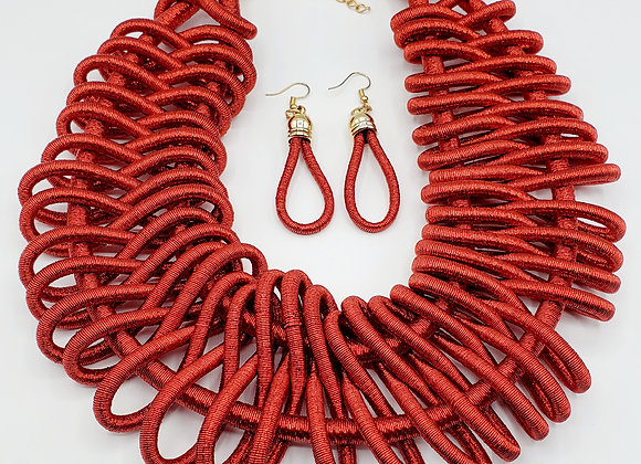 Basket-Weave Style Metallic Necklace Set (Crimson)