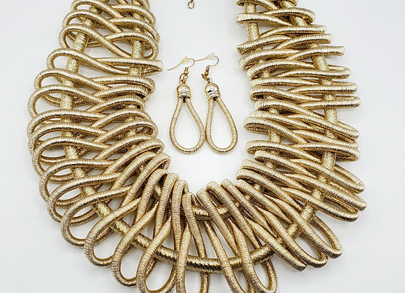 Basket-Weave Style Metallic Necklace Set (Gold)