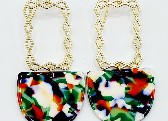 Geometric Colorburst Earrings