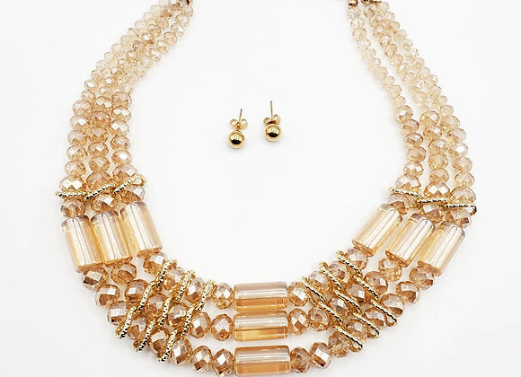 Monochromatic  Rondelle Crystal Necklace Set