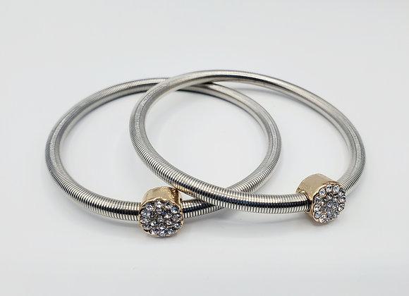 Two-toned Stretchy Rhinestone Bracelets *Set of Two*