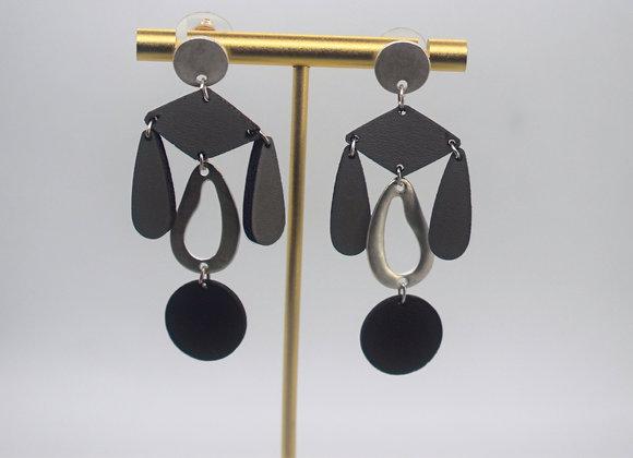 Slate Leather & Metal Earrings