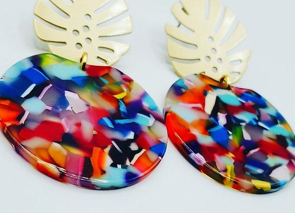 Palm Leaf Colorburst Earrings