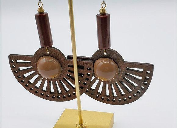 Laser Cut Wood Earrings (012)
