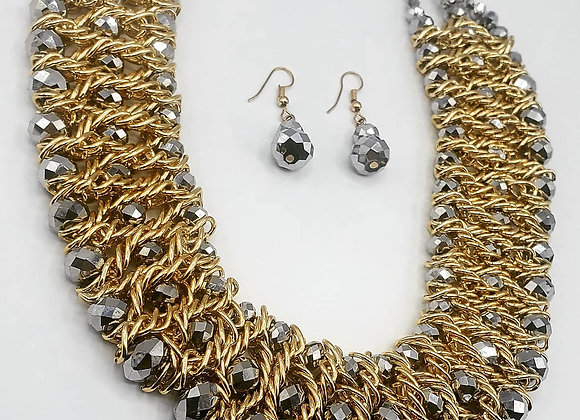 Two-Toned Rhodium Beaded Necklace Set