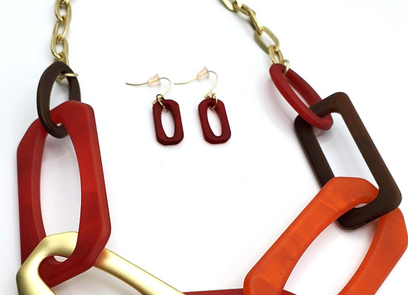 Crimson Links Necklace & Earrings Set