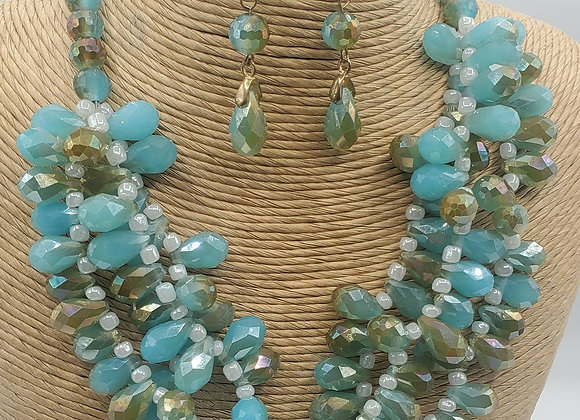 Faceted Crystal Necklace Set (Turquoise)