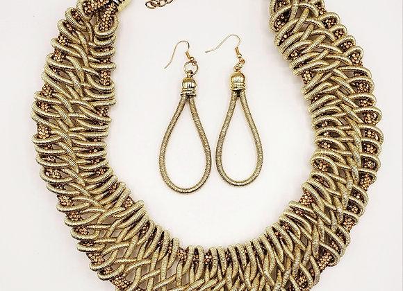 Gold Rhinestone Braided Necklace Set