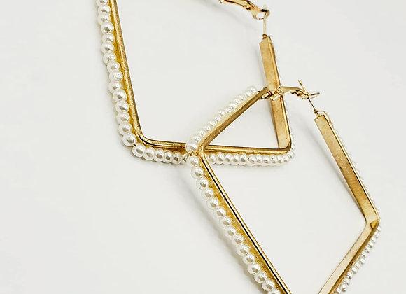 Geometric Gold Metal Pearl Lined Earrings