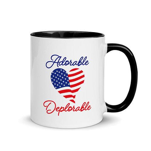 Adorable Deplorable Heart Flag Script Mug with Color Inside
