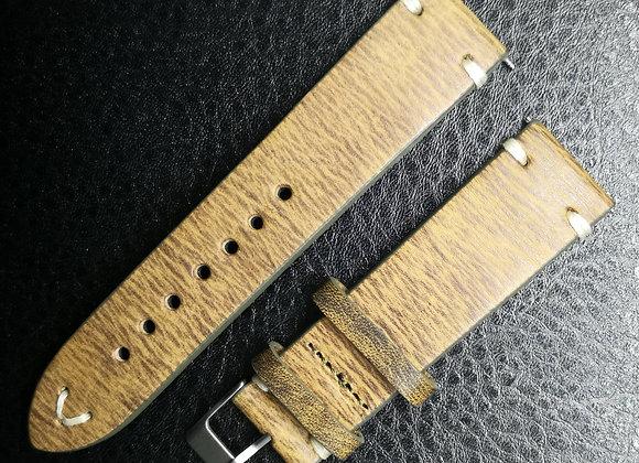 Cinturino in pelle Vintage striato Ocra
