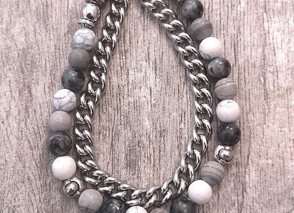 Marian - Bracciale doppio, magnetico, in pietre, ottone e acciaio.