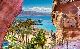 Central beach and marina in Eilat - famous resort and recreation city in Israel.This seren
