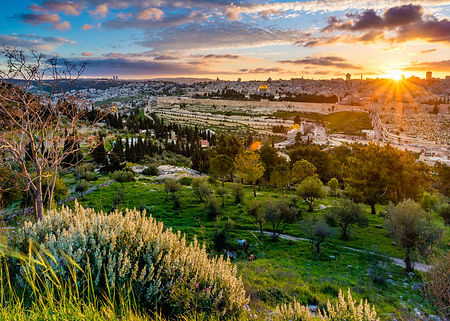 Sunset over Jerusalem, view from the Mou